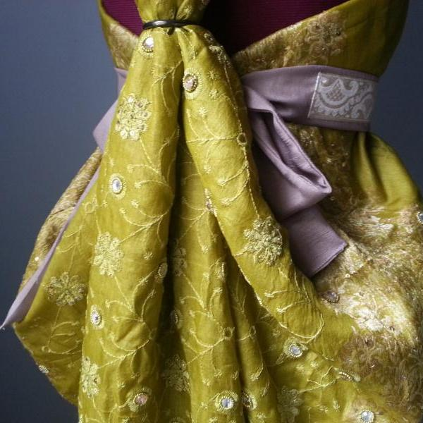 King's Landing Dress, Vintage Green Silk Sari
