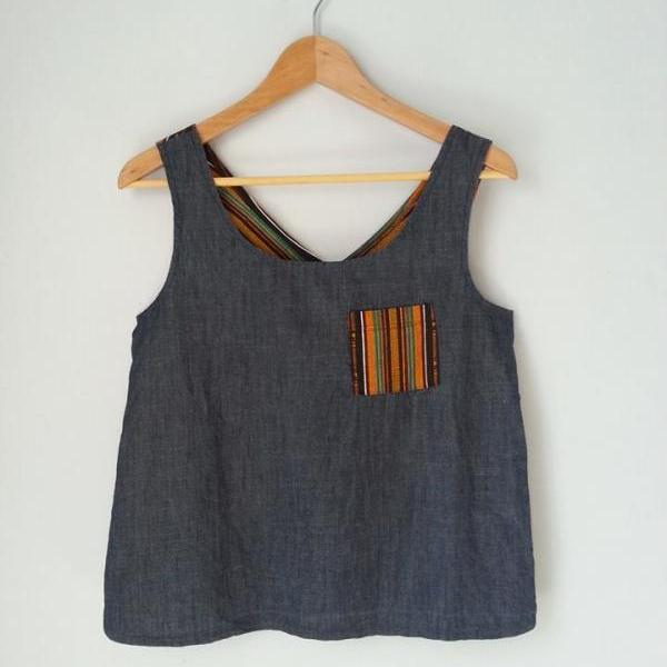 Ghana Print Criss Cross Top, Chambray Blue Front with Pocket, Wax Print Back